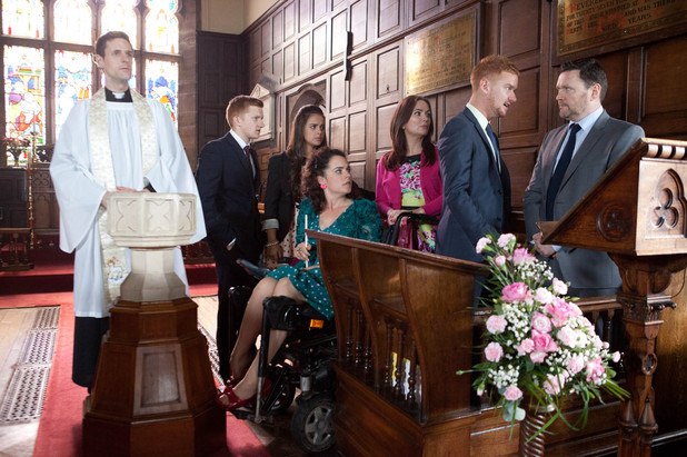 At Joseph&#39;s christening, Owen confronts Gary about his visit to Carter&#39;s surgery