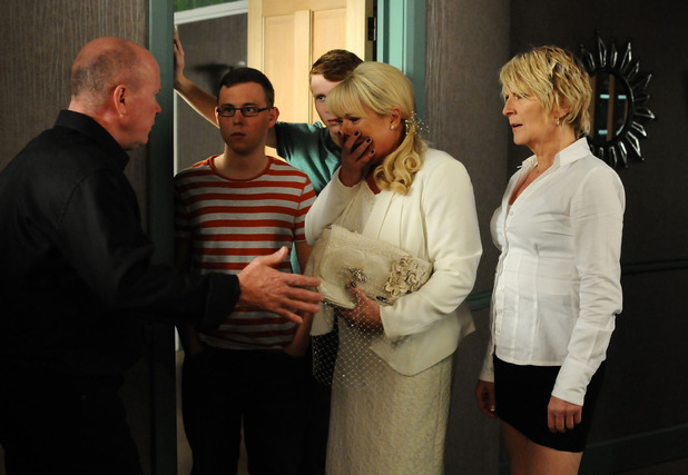 Sharon Watts arrives on Phil Mitchell's doorstep on EastEnders
