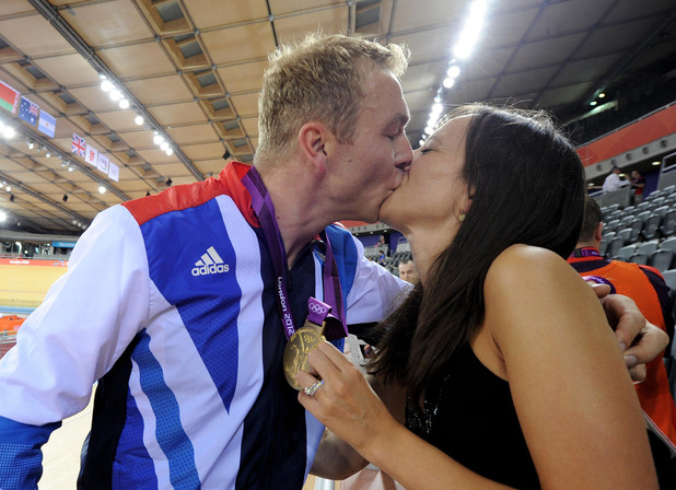 Chris Hoy celebrates with his wife Sarra