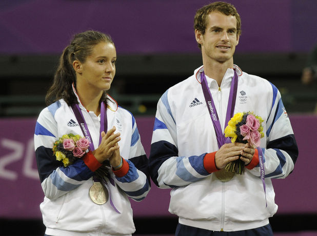 Andy Murray and Laura Robson collect their silver medals after the Mixed Doubles final at Wimbledon.