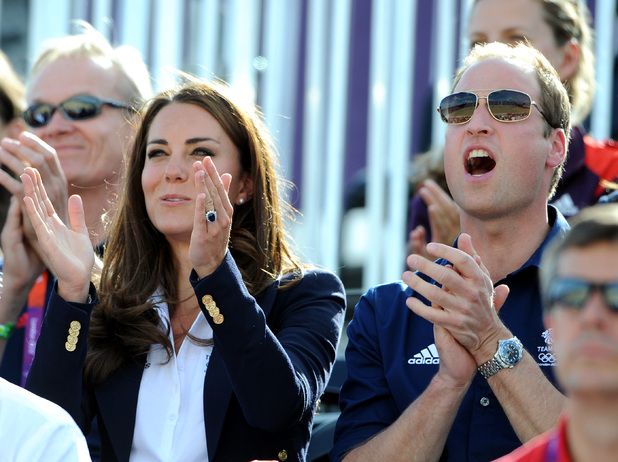 Prince William and the Duchess of Cambridge cheer for Zara Phillips