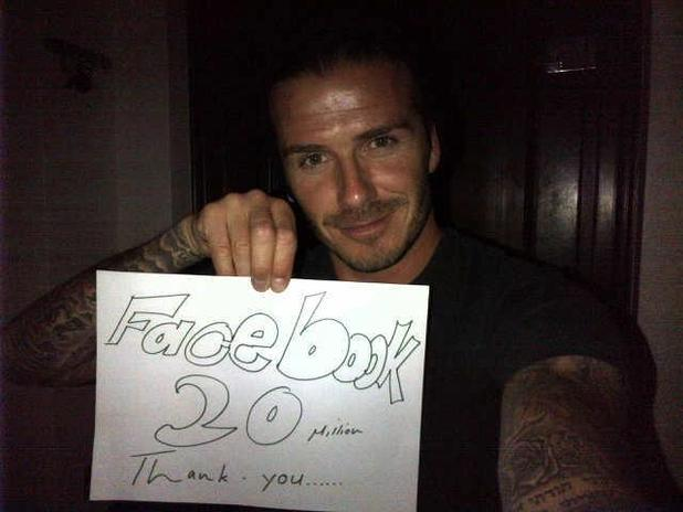 David Beckham posts a Facebook picture to celebrate 20 million likes