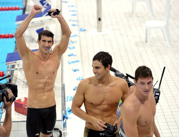 Michael Phelps, Ricky Berens and Conor Dwyer