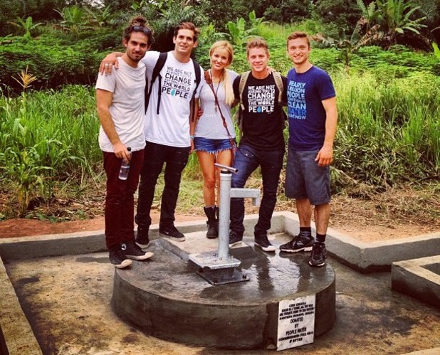 The Bachelorette stars Emily Maynard and Jef Holm visit a well in Ghana