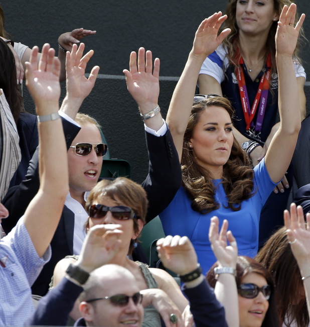 Prince William, Kate Middleton, Mexican wave, during a game break of Great Britain's Andy Murray's Quarterfinal match of the Men's Singles
