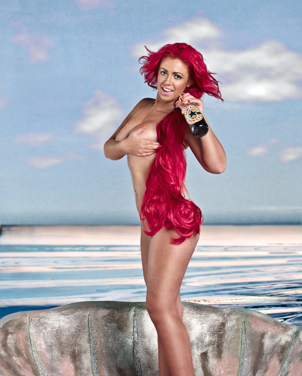 Holly Hagan with a bottle of Newcastle Brown Ale in the Birth of Venus for Now
