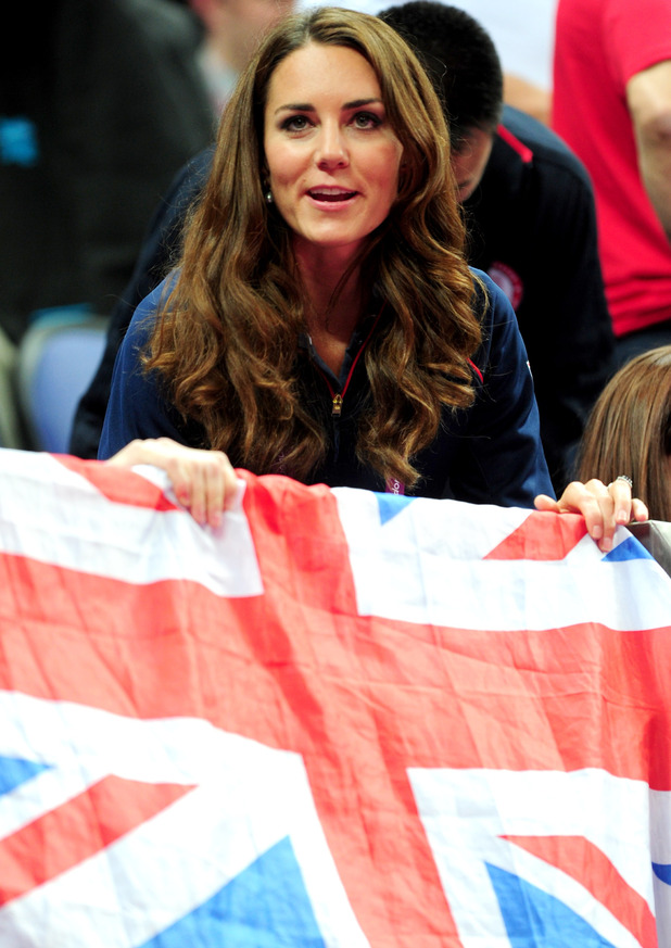 The Duchess of Cambridge watches the Men's Pommel Horse Final.