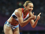 Great Britain's Jessica Ennis is in high spirits as the Women's Heptathlon gets underway.