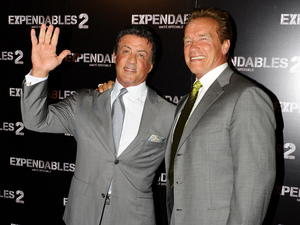 Arnold Schwarzenegger  and Sylvester Stallone The 'Expendables 2' premiere held at 'Le Grand Rex' Paris, France