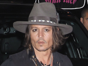 Johnny Depp at Steven Tyler's party at Pink Taco restaurant Los Angeles, California