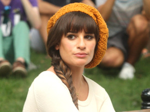Lea Michele on the set of &#39;Glee&#39; filming on location in New York City