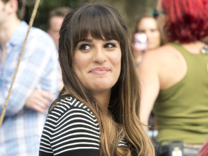 Lea Michele on the set of &#39;Glee&#39; in Manhattan