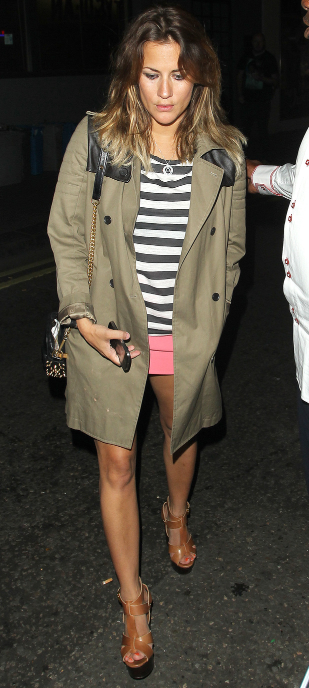 Caroline Flack celebrates Nick Grimshaw's birthday at the Groucho Club.