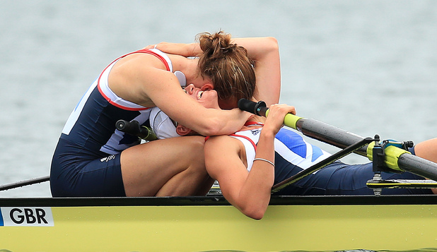 Helen Glover, Heather Stanning, celebrate winning gold in the women's pair final, London 2012