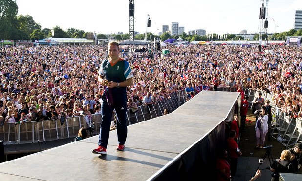 Sir Chris Hoy greets crowds at BT London Live in Hyde Park (August 8)