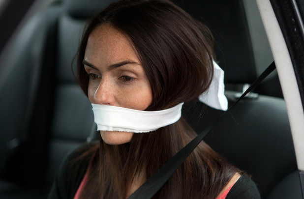 Mercedes is gagged and bound.