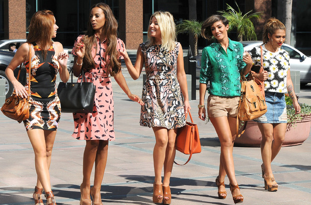 Una Healy, Rochelle Wiseman, Mollie King, Frankie Sandford and Vanessa White, of The Saturday's out and about