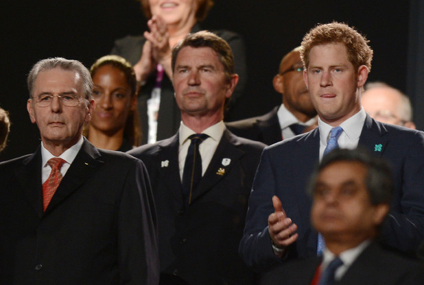 London 2012 Olympics Closing Ceremony: IOC President Jacques Rogge and Prince Harry.