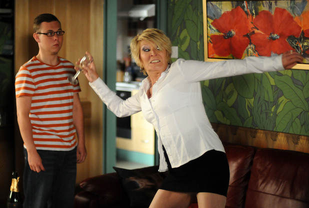 Shirley loses it when she believes Phil is involved in Heather&#39;s murder. 