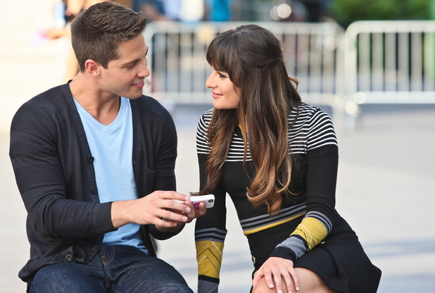 Lea Michele and Dean Geyer on the set of 'Glee' filming on location in Washington Park