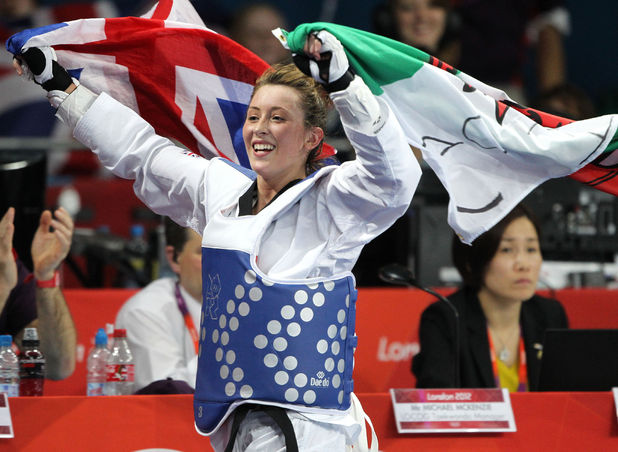 Jade Jones celebrates her taekwondo gold medal