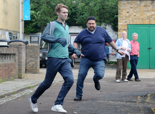 Andrew chases Jay through the Square.