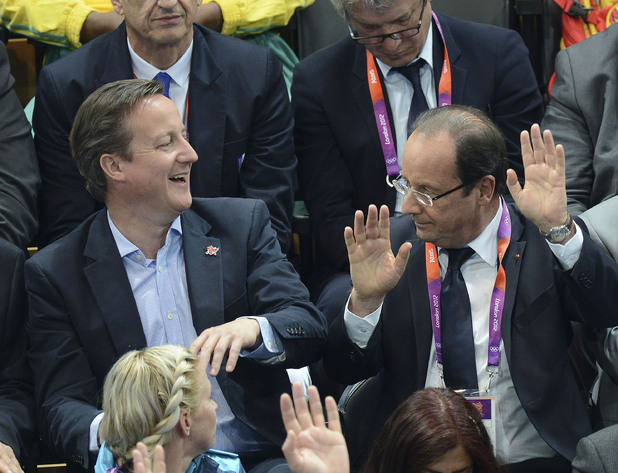 British Prime Minister David Cameron and French President Francois Hollande London 2012 Olympic Games - Women's Handball Preliminaries Group B - Match 10 between France and Spain on Day 3