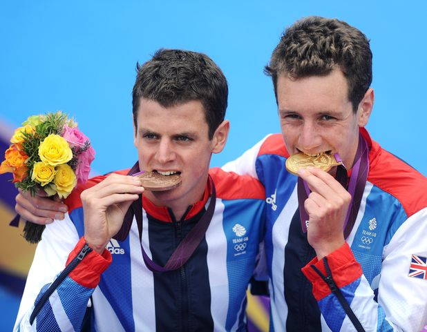 Jonathan Brownlee, Alistair Brownlee with their medals, Men's Triathlon