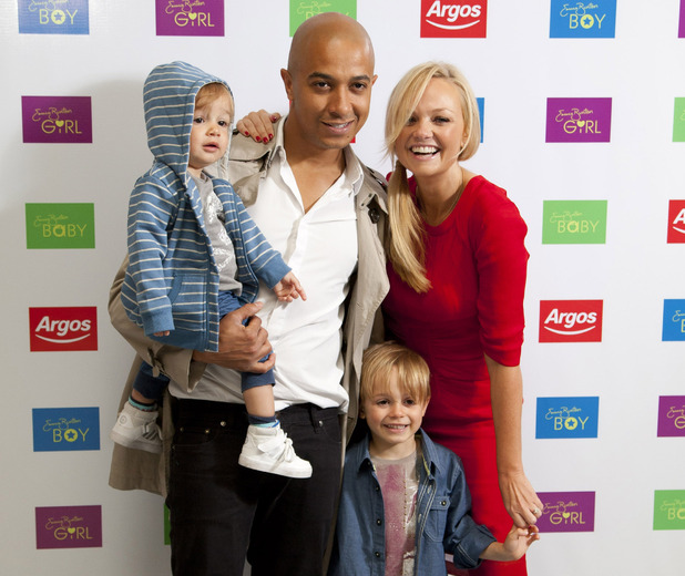 Emma Bunton and Jade Jones with children Tate (left) and Beau (right)