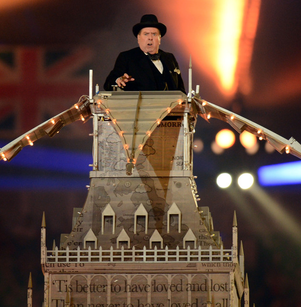 London 2012 Olympics Closing Ceremony: Timothy Spall portrays Winston Churchill.