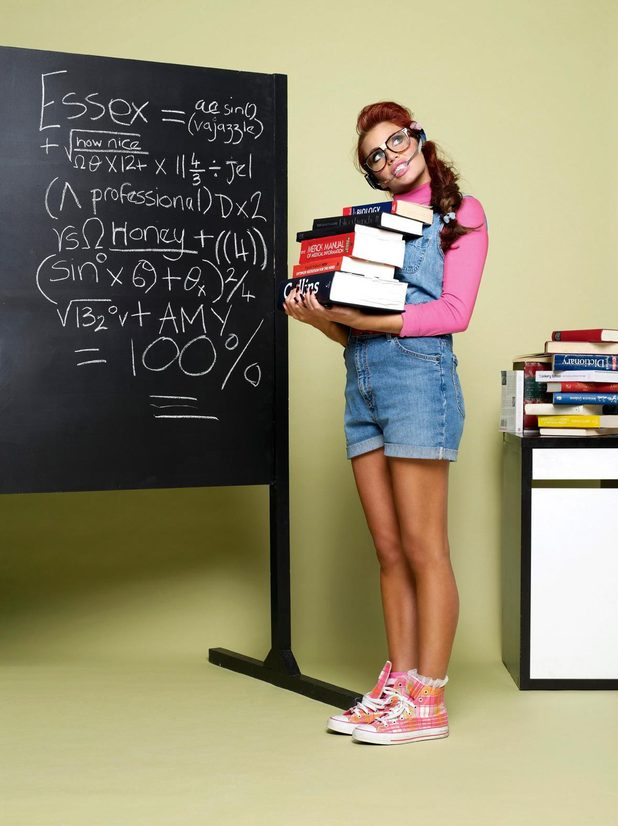 "Amy Childs dresses as a ""nerd"" for Now magazine"