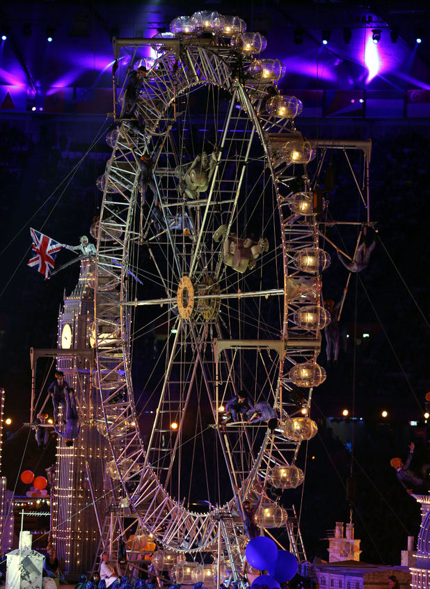 London 2012 Olympics Closing Ceremony: Performers on the wheel.