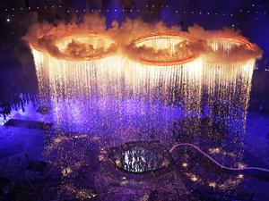 The Olympic rings light up the stadium during the Opening Ceremony at, London 2012