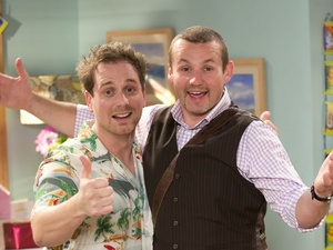 Patrick Harvey and Ryan Moloney on set at Neighbours