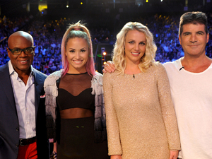 The X Factor USA judges on set: (L-R) LA Reid, Demi Lovato, Britney Spears, Simon Cowell