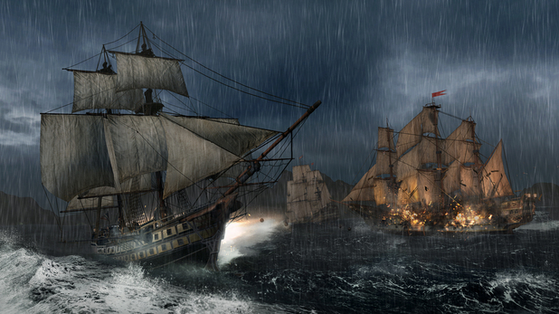 Assassin's Creed 3 naval warfare at sea