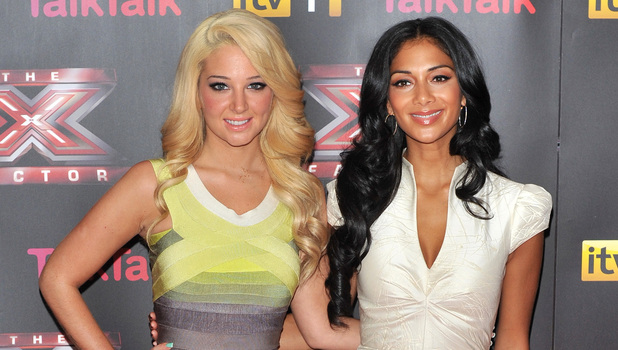 Female judges Tulisa Contostavlos and Nicole Scherzinger  at The X Factor press launch held at the Corinthia Hotel.
