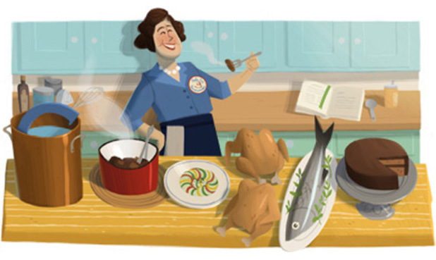 Google doodle celebrates US TV cook Julia Child