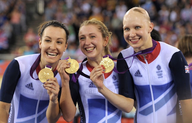 Team GB's Dani King, Laura Trott and Joanna Rowsell celebrate after winning the Women's Team Pursuit Final