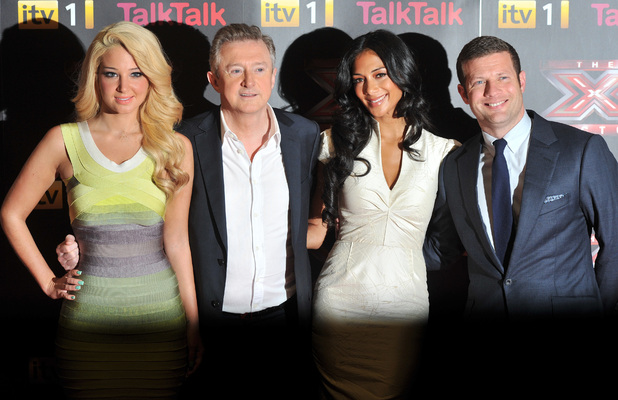 Dermot O&#39;Leary, Louis Walsh, Tulisa Contostavlos and Nicole Scherzinger at The X Factor press launch held at the Corinthia Hotel.