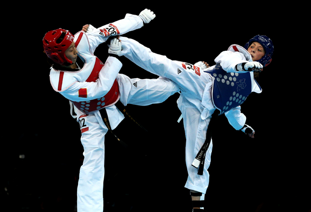 Great Britain's Jade Jones in action during the Women's -57kg division at the Excel Arena