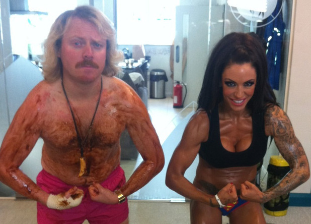 Keith Lemon and Jodie Marsh compare muscles.