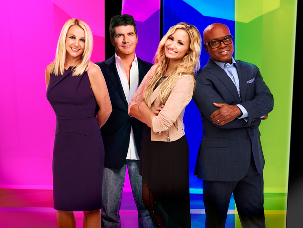'X Factor' USA judges iconic image: (L-R) Britney Spears, Simon Cowell, Demi Lovato, LA Reid