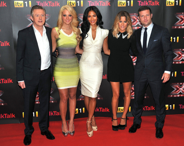 Louis Walsh, Tulisa Contostavlos, Nicole Scherzinger, Caroline Flack and Dermot O&#39;Leary at The X Factor press launch held at the Corinthia Hotel.