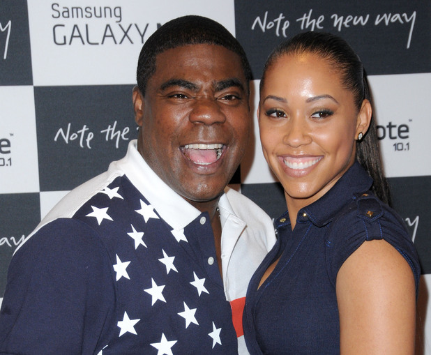 Tracy Morgan with his fiance Megan Wollover The launch of the Samsung Galaxy Note 10.2 - Arrivals New York City, USA