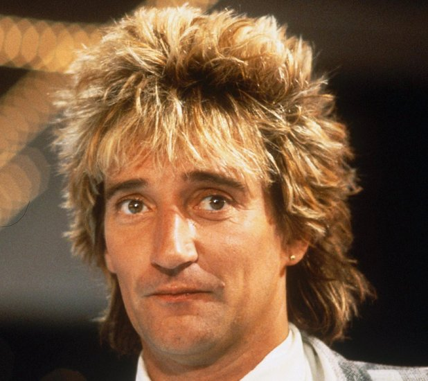 ROD STEWART RECEIVES GOLD RECORD FROM MICHEL DRUCKER ON FRENCH TV SHOW, FRANCE - 1984