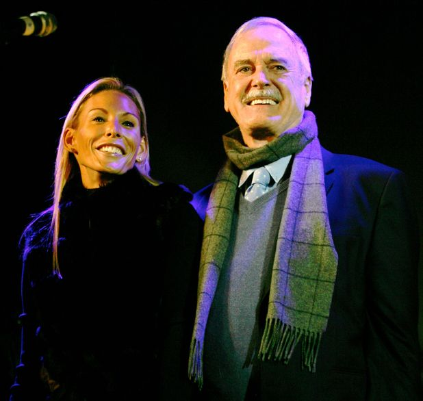 Jennifer Wade and John Cleese switching on Bath's Christmas lights, November 2011