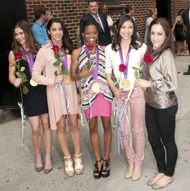 Olympic gymnasts McKayla Maroney, Aly Raisman, Gabby Douglas, Kyla Ross, and Jordyn Weiber, leave the 'Late Show with David Letterman' held at the Ed Sullivan Theater. New York City, USA