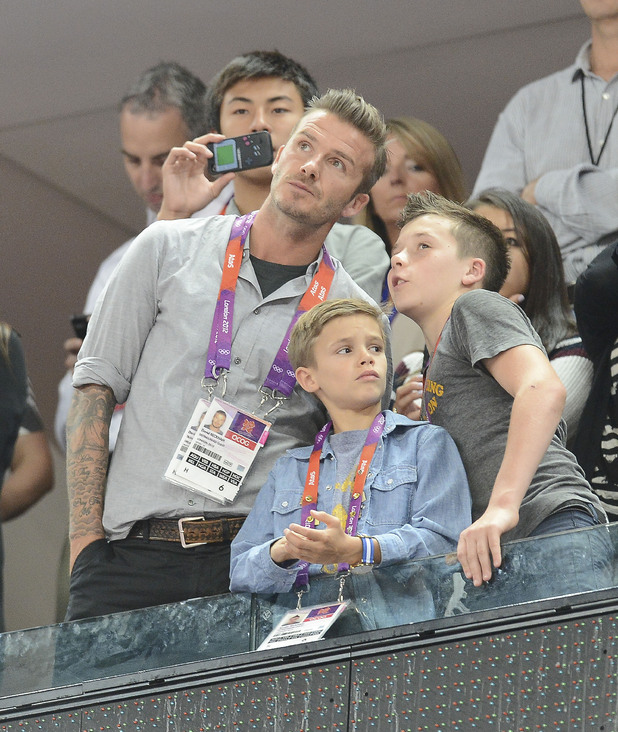 David, Brooklyn and Romeo Beckham