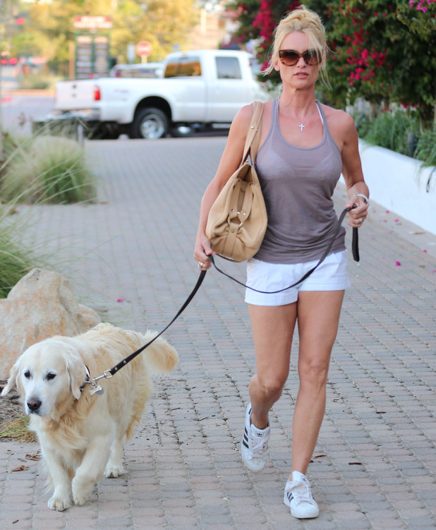 Nicollette Sheridan walking her dog in Los Angeles.